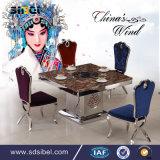 White Dining Table Set Wood /LED Light Modern Wood Table