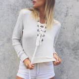 Fashion Women V-Neck Bandage Short T-Shirt Blouse