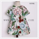Classical Black Flower Pattern Kids Clothes for Cotton Girls Dress