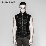 Cool Punk Rave Metallic Double-Breasted Men Waistcoat (Y-758)