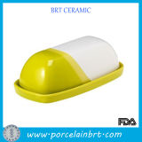 Newest Yellow and White Ceramic Butter Dish with Lid