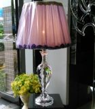 Phine 90287 Clear Crystal Table Lamp with Fabric Shade