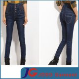 High Waisted Embroidery Women Jeans with Buckle (JC1209)