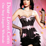 Sweet Sexy Lace Pink Polka DOT Women Corset