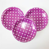 "9"" Party Paper Plate, Round Polka Purple DOT Paper Plates"