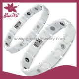 White Ceramic Magnetic Bracelet Jewelry (2015-Cmb-016)
