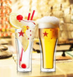 Popular Double Wall Beer Cup Fashion Pattern Glass Beer Cup