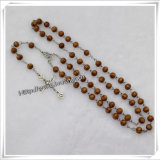 High Quality Natural Wooden Beads Cord Rosary Necklace Hanging (IO-cr183)