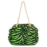 Woven Handle Eye-Catching Sparkle Zebra Skin Fashion Shoulder Bag (MBNO032002)