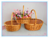 New Design Customized Round Shaped Decorative Willow Flower Baskets