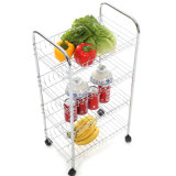 Top Metal Rolling Kitchen Storage Serving Cart Trolley (JP-SC984C)