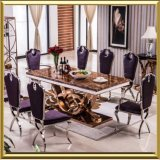 Dining Table Set Glass Luxury Stainless Steel Glass Dining Table