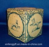 Tea Tin Box with Hinged Lid