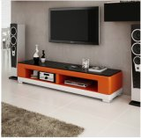 2016 Hot Sale Glass Top Leather TV Stands for Livingroom Use (TV017)