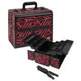 Large Pink Zebra Aluminum Makeup Case