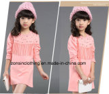 Long Sleeve Girls′ Dress Children Clothes with Fringe on The Chest