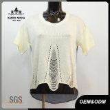 Women Special Mesh Sweater Back Patch Denim