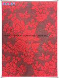Red Color Lycra Lace Fabric Jacquard Lace Azo Free