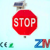 New Solar Powered Traffic Sign / LED Flashing Stop Road Sign