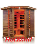 Corner Red Cedar Far Infrared Sauna Room with Carbon Fiber Heaters; Dry Sauna