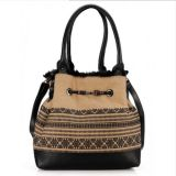 New Arrival Printed Wool Facric Ladies Fashion Tote Bags (ZX20159)