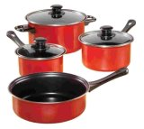Amazon Vendor 7-Piece Nonstick Carbon Steel Cookware Set Red