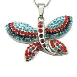Charm Crystal Butterfly Girl Necklace