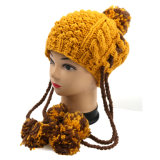 Hand Knit Hat Earflap with Pompom Women Children Adult Sizing