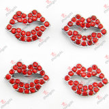 8mm Red Lip Sliders with Crystal Wholesale (JP08-80)