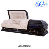 Solid Wood Velvet Mahogany Color Adult Coffin and Casket