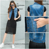 Low Price Women Fashion Clothes Korean Sleeveless Cotton Denim Jacket