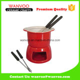 Handmade Red Heart-Shaped Fondue Pot for Chocolate with Fork