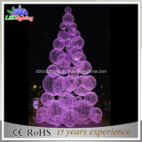 3D Outdoor Purple Christmas Ball Tree with LED Lights Waterproof