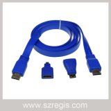 Male to Male Flat HDMI Cable with Mini Micro Adapter