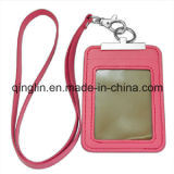 Promotion Superior PU Leather ID Card Holder with Lanyard (QL-GZZ-0003)