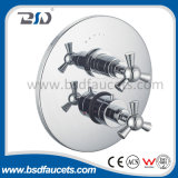 Concealed Thermostatic Shower Valve with Round Plate Twin Triangular Handle