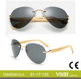 China Wholesale Custom Design Rimless Metal, Bamboo Temple Sunglasses UV 400 Protection (613-A)