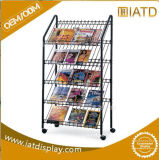 Durable Movable Iron Magazine Display Stand with 4 Wheels