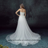 Short Front Back Long Detachable Tail Strapless Elegant Wedding Dress