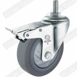 Medium Duty Single Bearing TPR Thread Stem Top Brake Wheel Caster (G3317)