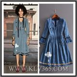 Fashion Ladies Autumn Denim Long Sleeve V-Necked Party Dress