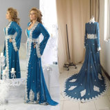 Vestidos De Gala Largos Blue Chiffon Long Sleeve Arabic Kaftans Evening Dress Women
