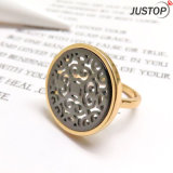 Hollow out Shell Mop Elegant Design Ring with Real Gold Plated