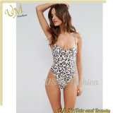 Scoop Neck Non-Padded Cups Strappy Back Leopard Print Swimsuit Bikini