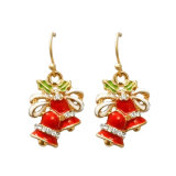 Red Enamel Epoxy Crystal Christmas Bells Drop Earrings