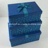 Custom Design Flocking Ribbon Decorated Paper Gift Storage Box