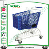 Plastic Basket Shopping Trolley with Metal Frame