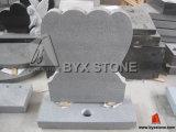 Grey Granite Double Heart Tombstone / Monument