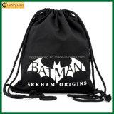 Simple School Bag Organic Black Cotton Drawstring Backpack Bag (TP-dB264)