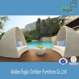 White Hemicycle Rattan Sofa Bed